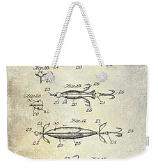 1907 Fishing Lure Patent Weekender Tote Bag by Jon Neidert