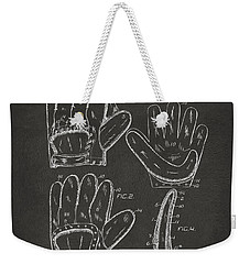 1910 Baseball Glove Patent Artwork - Gray Weekender Tote Bag by Nikki Marie Smith