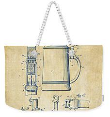 1914 Beer Stein Patent Artwork - Vintage Weekender Tote Bag by Nikki Marie Smith