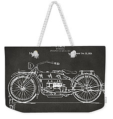 1919 Motorcycle Patent Artwork - Gray Weekender Tote Bag by Nikki Marie Smith