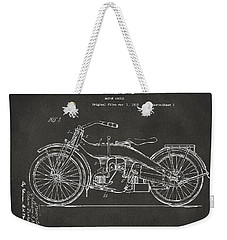 1924 Harley Motorcycle Patent Artwork - Gray Weekender Tote Bag by Nikki Marie Smith