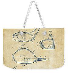 1926 Golf Club Patent Artwork - Vintage Weekender Tote Bag by Nikki Marie Smith