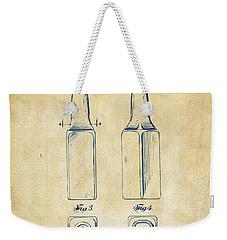 1934 Beer Bottle Patent Artwork - Vintage Weekender Tote Bag by Nikki Marie Smith