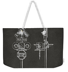 1936 Rail Road Crossing Sign Patent Artwork - Gray Weekender Tote Bag by Nikki Marie Smith