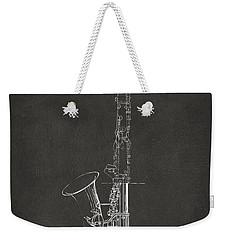 1937 Saxophone Patent Artwork - Gray Weekender Tote Bag by Nikki Marie Smith