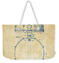 1939 Snare Drum Patent Vintage Weekender Tote Bag by Nikki Marie Smith