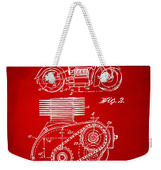 1941 Indian Motorcycle Patent Artwork - Red Weekender Tote Bag by Nikki Marie Smith