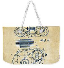 1941 Indian Motorcycle Patent Artwork - Vintage Weekender Tote Bag by Nikki Marie Smith