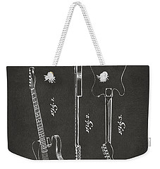 1951 Fender Electric Guitar Patent Artwork - Gray Weekender Tote Bag by Nikki Marie Smith