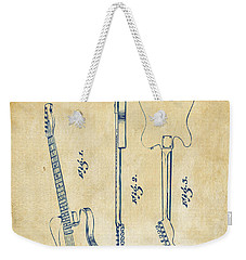 1951 Fender Electric Guitar Patent Artwork - Vintage Weekender Tote Bag by Nikki Marie Smith