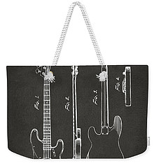 1953 Fender Bass Guitar Patent Artwork - Gray Weekender Tote Bag by Nikki Marie Smith