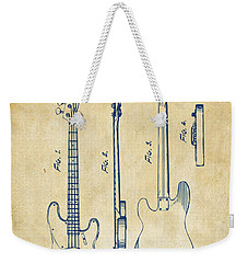 1953 Fender Bass Guitar Patent Artwork - Vintage Weekender Tote Bag by Nikki Marie Smith