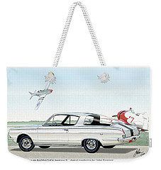 1965 Barracuda  Classic Plymouth Muscle Car Weekender Tote Bag by John Samsen