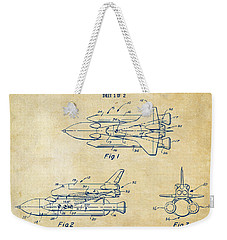 1975 Space Shuttle Patent - Vintage Weekender Tote Bag by Nikki Marie Smith