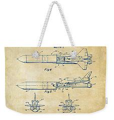 1975 Space Vehicle Patent - Vintage Weekender Tote Bag by Nikki Marie Smith