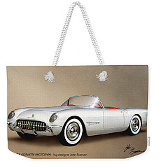 1953 Corvette Classic Vintage Sports Car Automotive Art Weekender Tote Bag by John Samsen