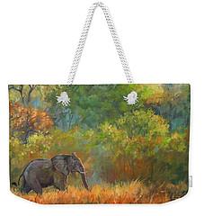 African Elephant Weekender Tote Bag by David Stribbling