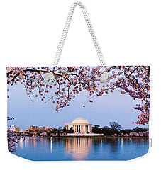 Cherry Blossom Tree With A Memorial Weekender Tote Bag by Panoramic Images