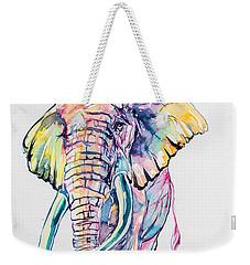 Colorful Elephant Weekender Tote Bag by Kovacs Anna Brigitta