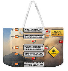 Weekender Tote Bag featuring the photograph Diagnosing Wildland Firefighter Disease by Bill Gabbert