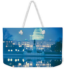 Government Building Lit Up At Night Weekender Tote Bag by Panoramic Images