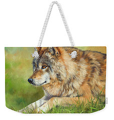 Grey Wolf Weekender Tote Bag by David Stribbling