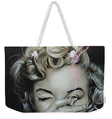 Marilyn Monroe - ' Marilyn's Crimson Haze ' Weekender Tote Bag by Christian Chapman Art