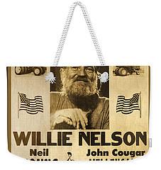 Vintage Willie Nelson 1985 Farm Aid Poster Weekender Tote Bag by John Stephens