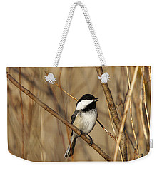 Black-capped Chickadee Weekender Tote Bag by Linda Freshwaters Arndt