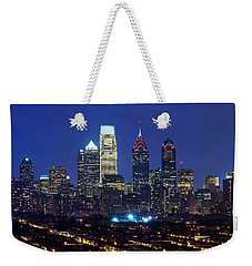 Buildings Lit Up At Night In A City Weekender Tote Bag by Panoramic Images