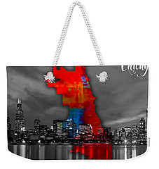 Chicago Map And Skyline Watercolor Weekender Tote Bag by Marvin Blaine