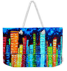Abstract Art Landscape City Cityscape Textured Painting City Nights II By Madart Weekender Tote Bag by Megan Duncanson