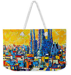 Abstract Sunset Over Sagrada Familia In Barcelona Weekender Tote Bag by Ana Maria Edulescu