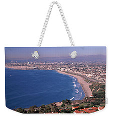 Aerial View Of A City At Coast, Santa Weekender Tote Bag by Panoramic Images