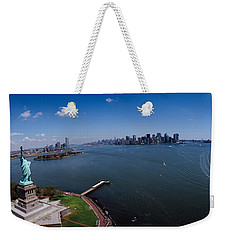 Aerial View Of A Statue, Statue Weekender Tote Bag by Panoramic Images