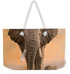 African Elephants Weekender Tote Bag by David Stribbling