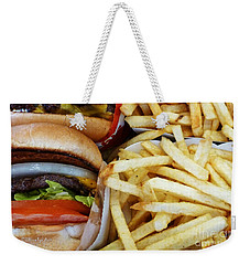 All American Cheeseburgers And Fries Weekender Tote Bag by Methune Hively