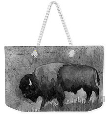 Monochrome American Buffalo 3  Weekender Tote Bag by Hailey E Herrera