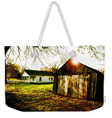 American Fabric   Mickey Mantle's Childhood Home Weekender Tote Bag by Iconic Images Art Gallery David Pucciarelli