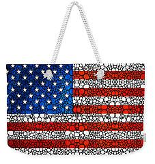 American Flag - Usa Stone Rock'd Art United States Of America Weekender Tote Bag by Sharon Cummings