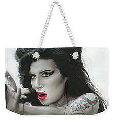Amy Winehouse - ' Amy Vi ' Weekender Tote Bag by Christian Chapman Art