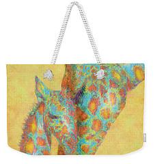Aqua And Orange Giraffes Weekender Tote Bag by Jane Schnetlage