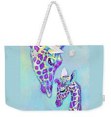 Aqua And Purple Loving Giraffes Weekender Tote Bag by Jane Schnetlage