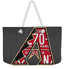 Arizona Diamondbacks Baseball Team Vintage Logo Recycled License Plate Art Weekender Tote Bag by Design Turnpike