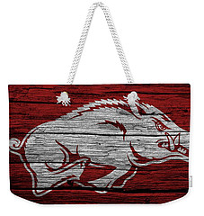 Arkansas Razorbacks On Wood Weekender Tote Bag by Dan Sproul