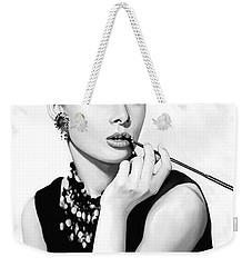 Audrey Hepburn Artwork Weekender Tote Bag by Sheraz A
