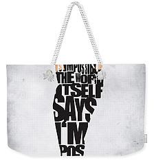 Audrey Hepburn Typography Poster Weekender Tote Bag by Ayse Deniz