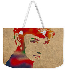 Audrey Hepburn Watercolor Portrait On Worn Distressed Canvas Weekender Tote Bag by Design Turnpike