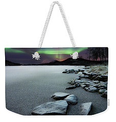 Aurora Borealis Over Sandvannet Lake Weekender Tote Bag by Arild Heitmann