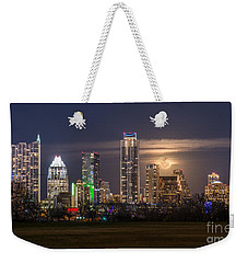 Austin Skyline Moonrise Weekender Tote Bag by Tod and Cynthia Grubbs